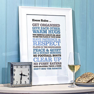 Personalised House Rules - gifts for families