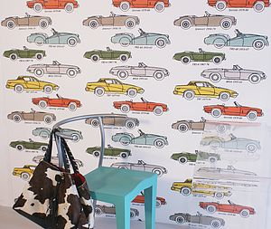 British Classic Car Hand Printed Wallpaper - children's living