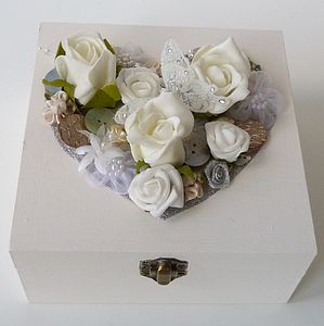 Traditional Floral Large Wedding Keepsake Box - boxes, trunks & crates