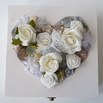 Traditional Floral Med Wedding Keepsake Box