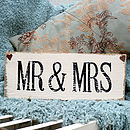 Mr & Mrs Sign Handmade In A Vintage Style