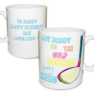 Personalised 'Daddy The Golf Course King' Mug