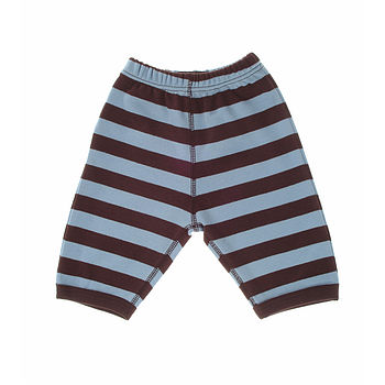 Sky Blue & Brown Cotton Baby Trousers