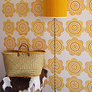 Retro 70's Daisy Hand Printed Wallpaper - office & study