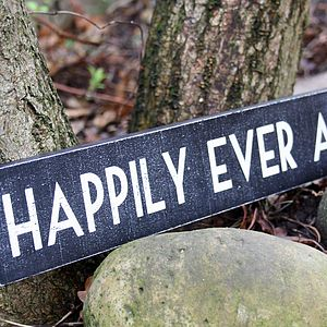 Happily Ever After Black & White Wedding Sign