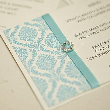 Damask Crystal Wedding Invite