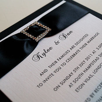 Personalised Crystal Buckle Wedding Invite