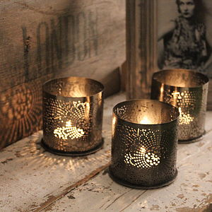 Fine Cutwork Metal Votive Holder - votives & tea lights