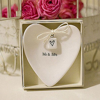 Personalised Mr & Mrs Large Wedding Ring Dish