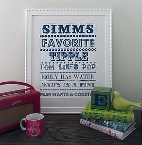 Family Favourite Tipples Wall Art