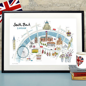 Alice Tait 'South Bank London Map' Print