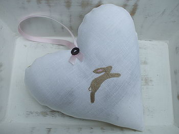 Hand Embroidered Lavender Bunny Heart