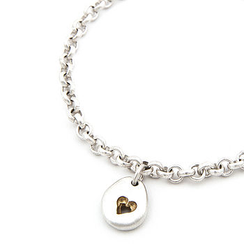 Pebble Bracelet Matt Silver With Gold Detail