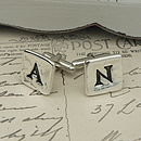 Personalised Silver Letter Tile Cufflinks