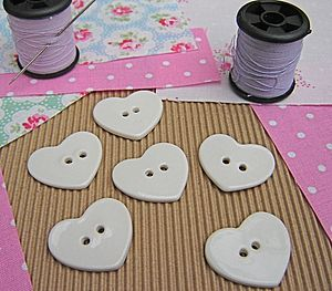 Glazed Porcelain Heart Button - sewing & knitting