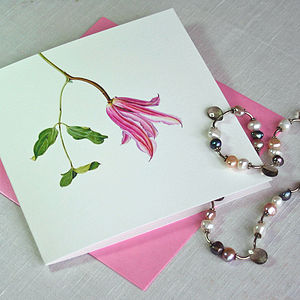 'Clematis' Botanical Flower Card