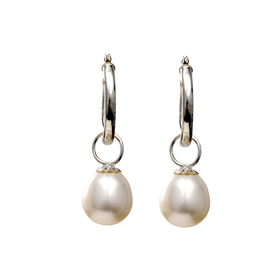 Silver Hoop Earrings With Pearl Drop