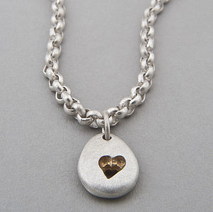 Pebble Heart Chain Necklace