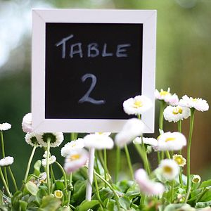Set Of Five Blackboard Wedding Table Numbers - chalkboard styling