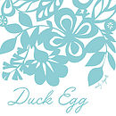 Duck Egg Floral Screen Printed Tea Towel