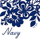 Navy Floral Screen Printed Tea Towel