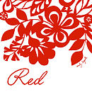 Red Floral Screen Printed Tea Towel