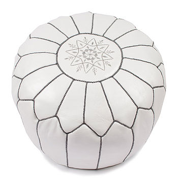 Moroccan Leather Pouffe - White with silver stitch
