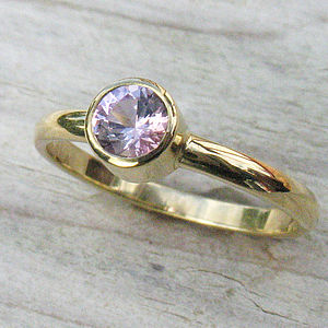 Fair Trade Pink Sapphire Ring In 18ct Gold - rings