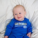 Personalised 'Goldenboy' Baby Romper front in Blue