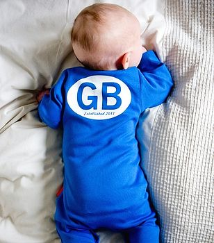 Personalised 'Goldenboy' Baby Romper reverse in Blue