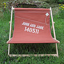 Tan sailcloth personalised double deckchair by Reefer
