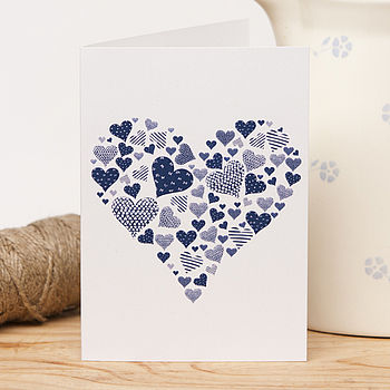 Recycled Traditional Navy Heart Card