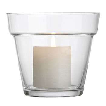 Glass Flower Pot Candle Holder