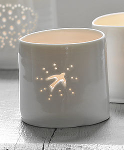 Porcelain Swallow Tea Light - candles & candle holders