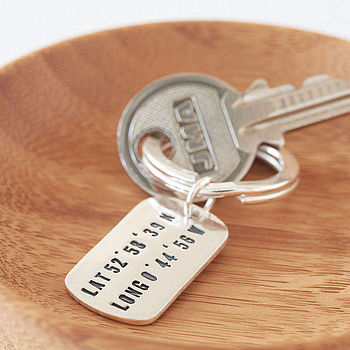Personalised Silver Location Key Ring