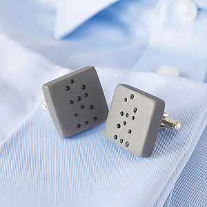 'Love' Braille Porcelain Cufflinks - gifts for grooms