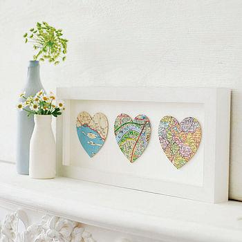 Bespoke Map Heart Trio Artwork