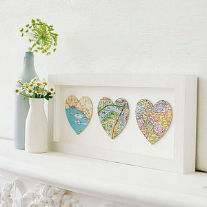 Bespoke Map Heart Trio Artwork - gifts for her