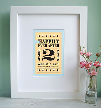 Personalised 'Ticket To Marriage' Print