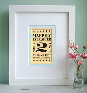 Personalised 'Ticket To Marriage' Print - anniversary gifts