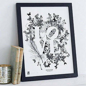 Personalised 'Love' Print - valentines wish list