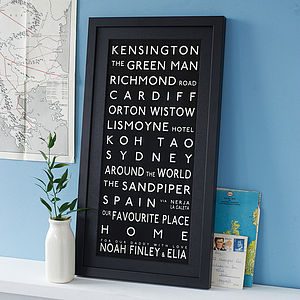 Personalised Destination Print - birthday gifts