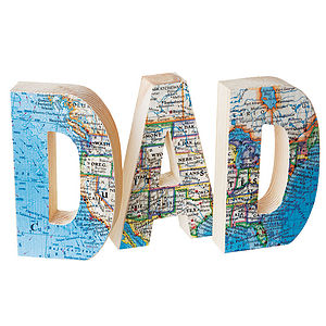 'Dad' Vintage Map Letters - children's room accessories
