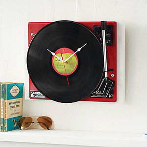 Personalised Vintage Record Player Clock - living room