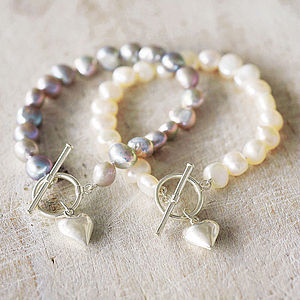 Pearl Bracelet With Silver Heart Charm - birthday gifts