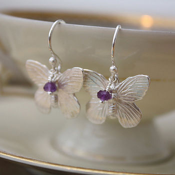 Silver Butterfly Earrings -Faceted Amethyst