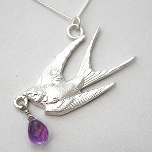 Sterling Silver Swallow Teardrop Necklace