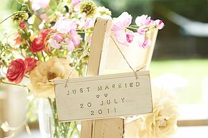 Just Married With Date Sign - wedding favours