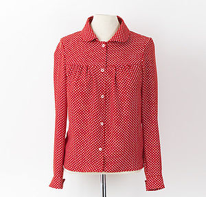 Polka Dot Long Sleeve Blouse - blouses & shirts