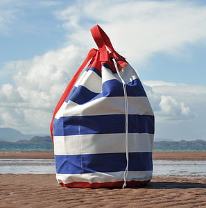 Big Striped Drawstring Kit Bag / Beach Bag - holdalls & weekend bags